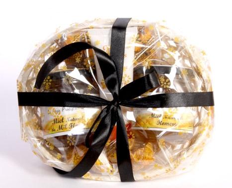 cesta regalo tarros de miel